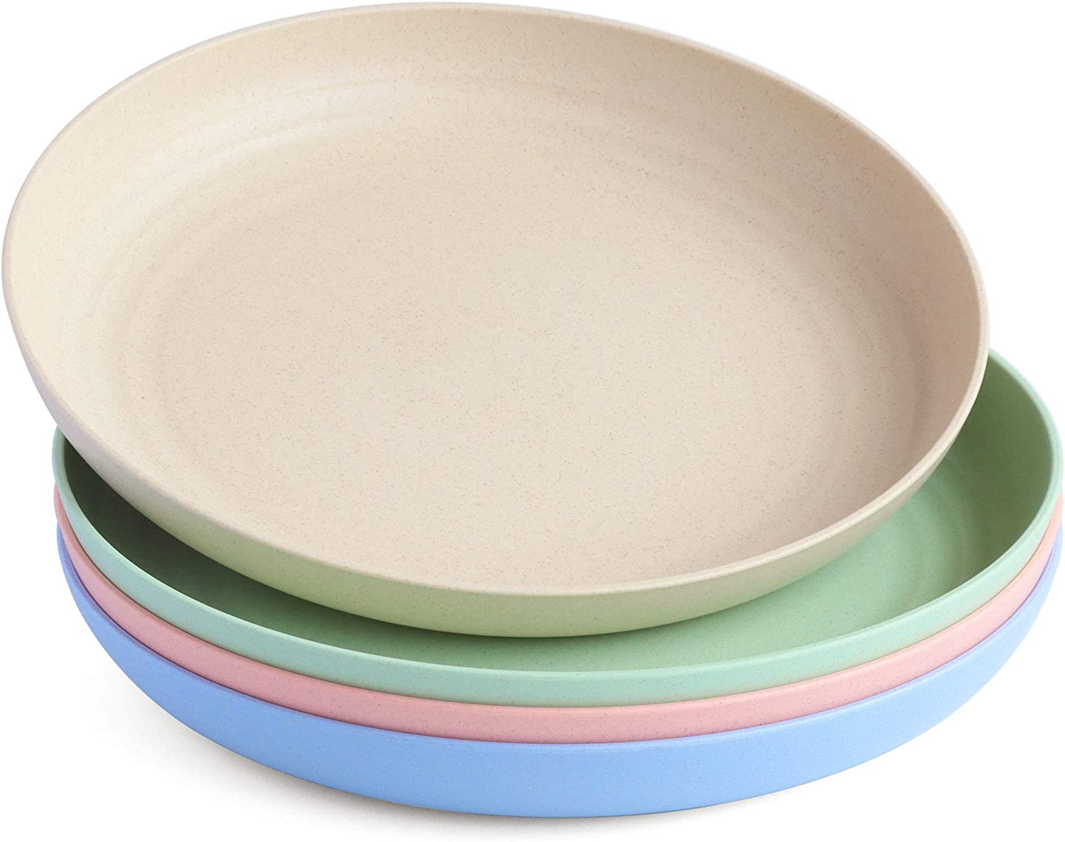 NAWOVAO Wheat Straw 10 Inch Plates, Reusable Unbreakable Dishes Set 4 Multicolor Microwave Safe Lightweight Deep Dinner Plate, Dishwasher Safe