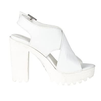 bc689bb0c99 WOMENS WHITE CHUNKY CLEATED SOLE PLATFORM LADIES BLOCK HEEL SANDALS SHOES  (UK3)