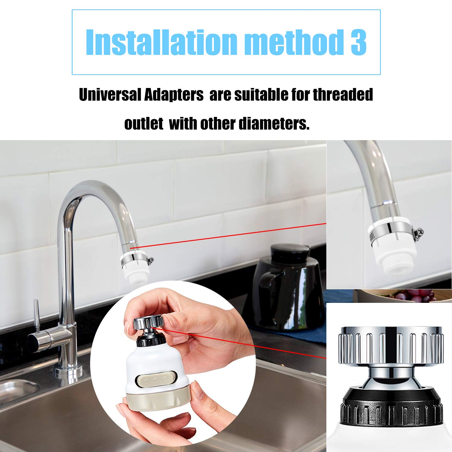 Kitchen Bath Fixtures 2 Pieces Moveable Kitchen Tap Head Water Spray 360 Degree Rotatable Faucet Water Sprayer Universal Adapter Lead Set Kitchen Sink Accessories Tools Tools Home Improvement Rdtech Co Rw
