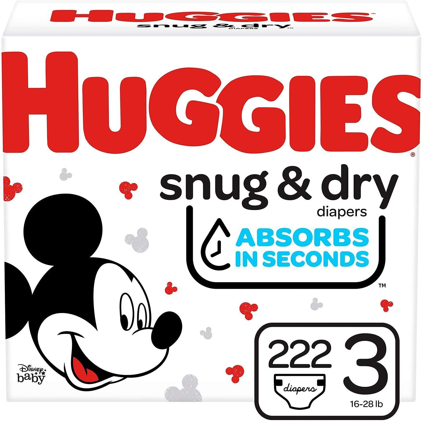Huggies Snug & Dry Diapers, Economy Plus Pack, Step 3, 16-28 lbs, 222 ea