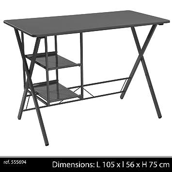 Lifetime Bureau Metal Noir Design 2 Etageres Casier Rangement Noir