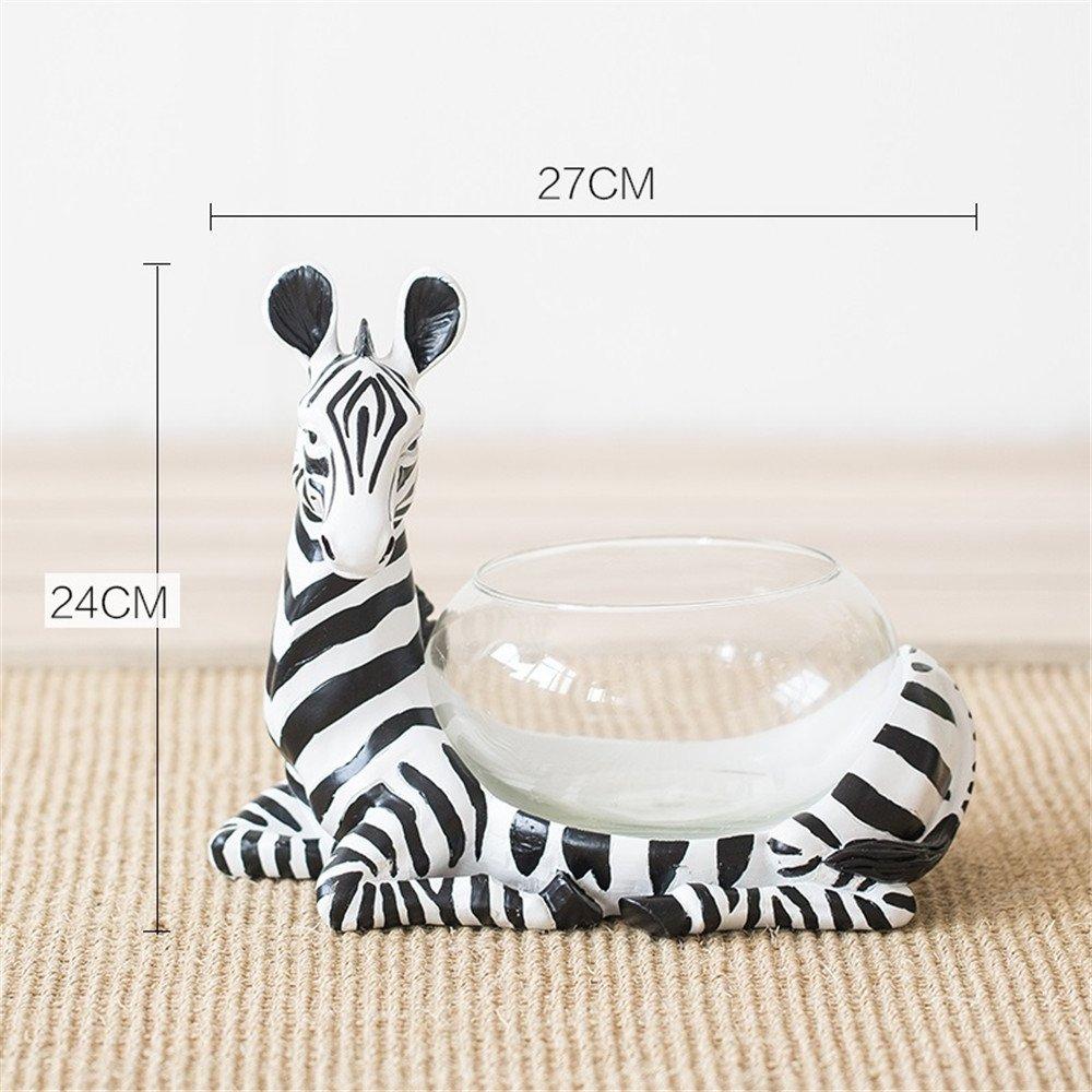 NOHOPE Desktop Hydroponic Resin Giraffe Animal Shape Glass Cylinder Vases Home Decoration Vase Crafts Ornaments,B