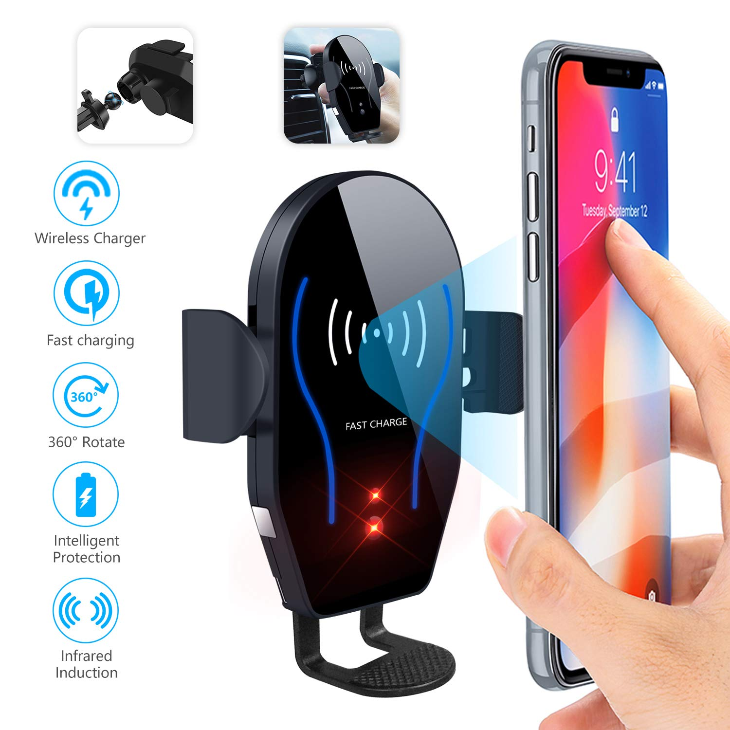 Car Phone Mount Air Vent Automatic Clamping Cell Phone Holder for Car Wireless Charger Compatible With iPhone Xs Max/XR/XS/X/8 Plus Samsung Galaxy S9/S8/S7/S6 Edge/Note5 & Other Smartphone