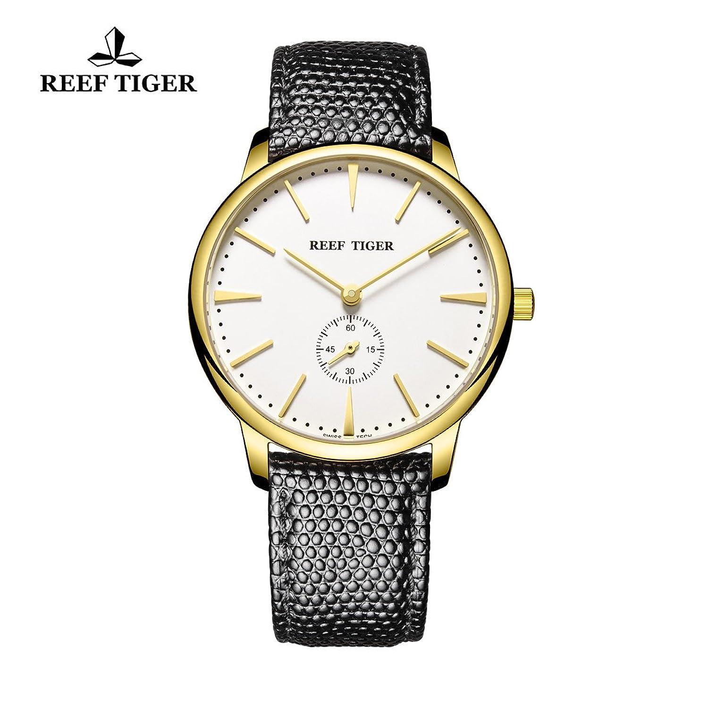 Reef Tiger Paar Uhren fÜr MÄnner Ultra DÜnn Gelb Gold weißes Zifferblatt Lederband Armbanduhr rga820