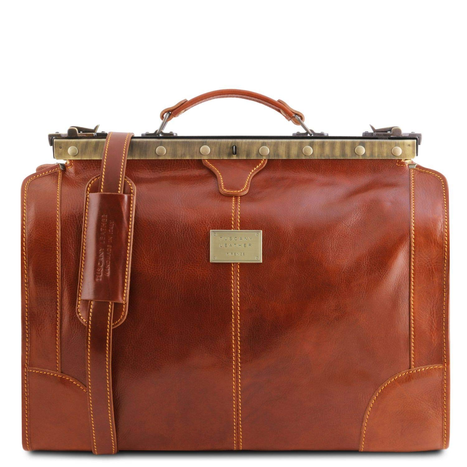 Tuscany Leather Madrid Gladstone Leather Bag – Small size Honey