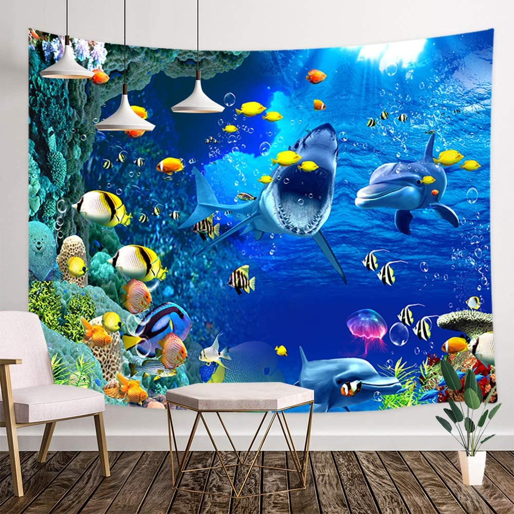 Underwater World Wall Tapestry, Tropical Underwater World Sea Animal with Shark Dolphin Tropical Fish and Coral Tapestry Wall Hanging, Kids Tapestry for Bedroom Living Room Dorm TV Background, 71X60IN