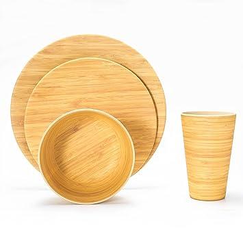 Lekoch 16 Teilige Bio Bambus Umweltfreundlich Camping Geschirr Set