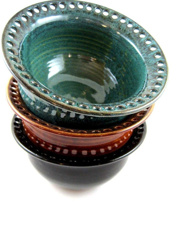 Jewelry Organizer \u2013 Ring Holder Floral Design Ceramic Earring Holder Slip Trailed Pottery