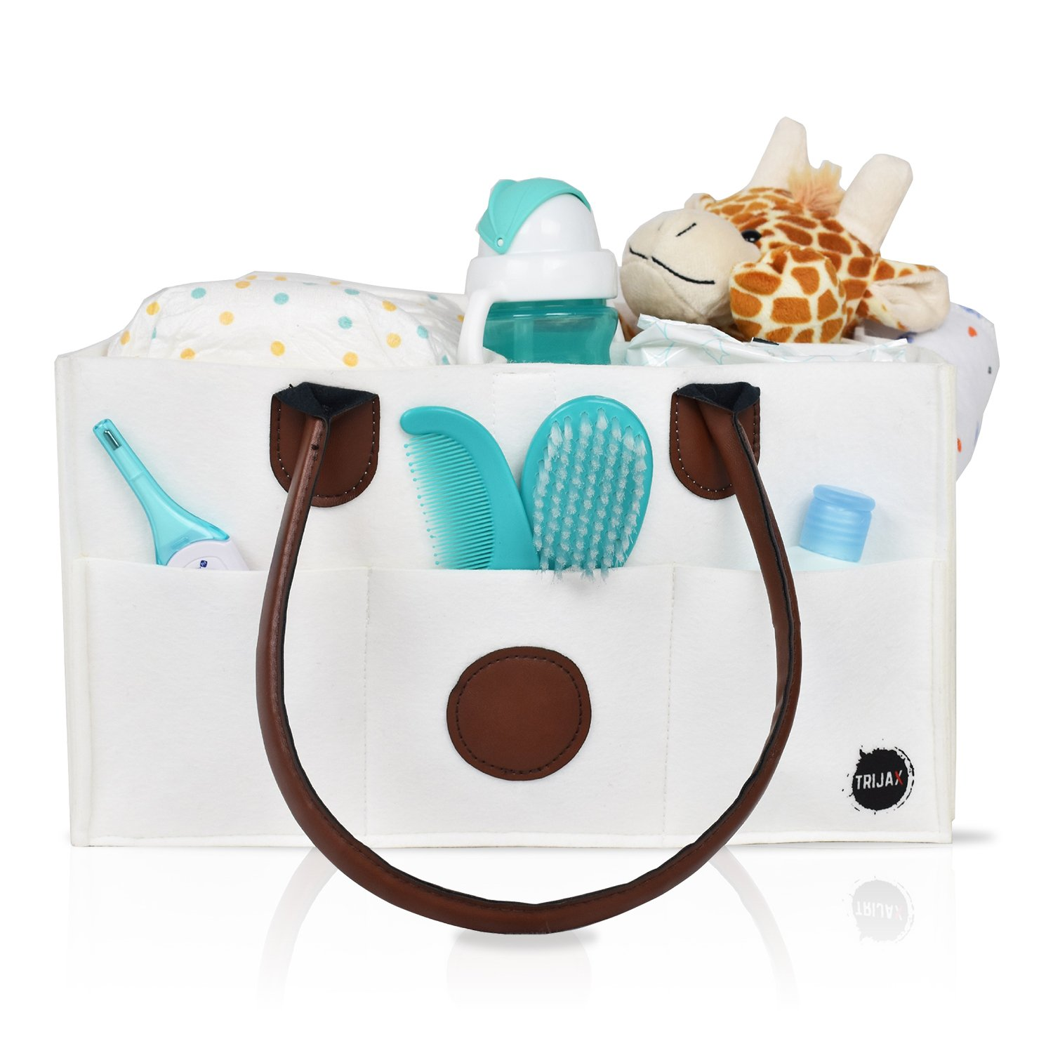 Diaper Caddy Organizer: New Baby Basket Storage Tote | Nursery Changing Table Organizer & Portable Diaper Holder | Great Car Caddy | Premium White Cloth Fabric | Bonus Baby Change Mat Included TRI-FI PTY.LTD.