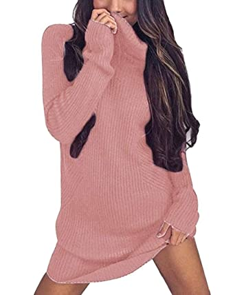 0261d9788b Minetom Women Autumn Winter Long Sweater Casual Long Sleeve Jumper  Turtleneck Sweaters Slim Knitted Dress  Amazon.co.uk  Clothing