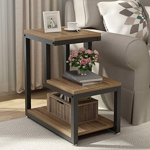 Tribesigns End Table, 3-Tier Chair Side Table Night Stand with Storage  Shelf for Living Room, Bedroom, Entryway (Walnut)