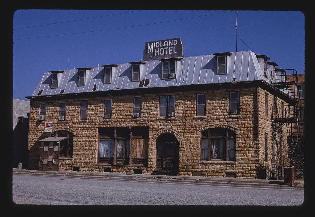 Vintography 24 x 16 Ready to Hang Gallery Wrapped Fine Art Canvas Print of: Midland Hotel, Wilson, Kansas 1996 Roadside Americana, J Margolies 60a