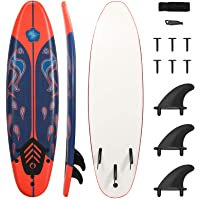 GYMAX Surfboard, 6' Body Board with Removable Fins & Protective Leash, Non-Slip Surfing Board for Surfing, Fishing Water…