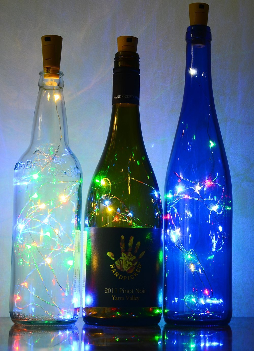 6 Pack 20-LEDS Spark Wine Bottle Light, Cork Shape Battery Copper Wire String Lights for Bottle DIY, Christmas, Wedding and Party Décor - Multicolour ATP