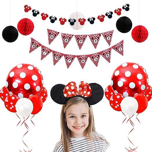 Decoraciones de cumpleaños de Minnie Mouse rojas y negras para niñas con Minnie Ears Garland, diadema, bolas de papel en forma de panal y globos
