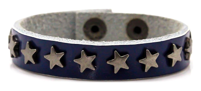 Xusamss Hip Hop Alloy Snap Star Rivet Leather Bracelet Cuffs Bangle,7-8inches