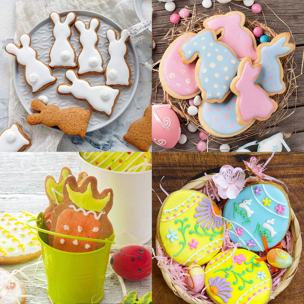 LoveInUSA Cookie Cutters,Easter Cookie Cutters Easter Bunny Egg Rabbit Head Carrot for Easter Party Parent-child baking