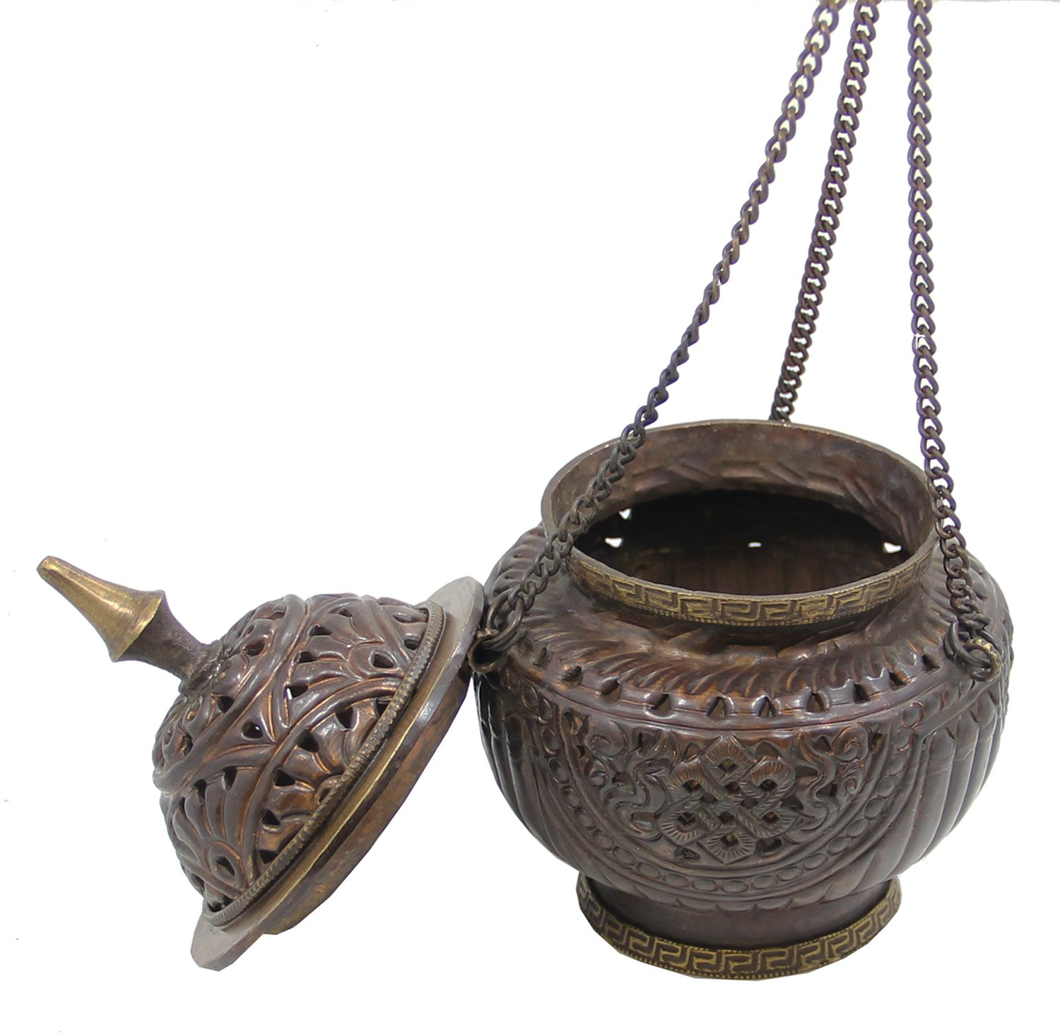 DharmaObjects Tibetan Hanging Incense Burner ~ Copper w/Tibetan Symbols ~ 6'' High by DharmaObjects (Image #2)