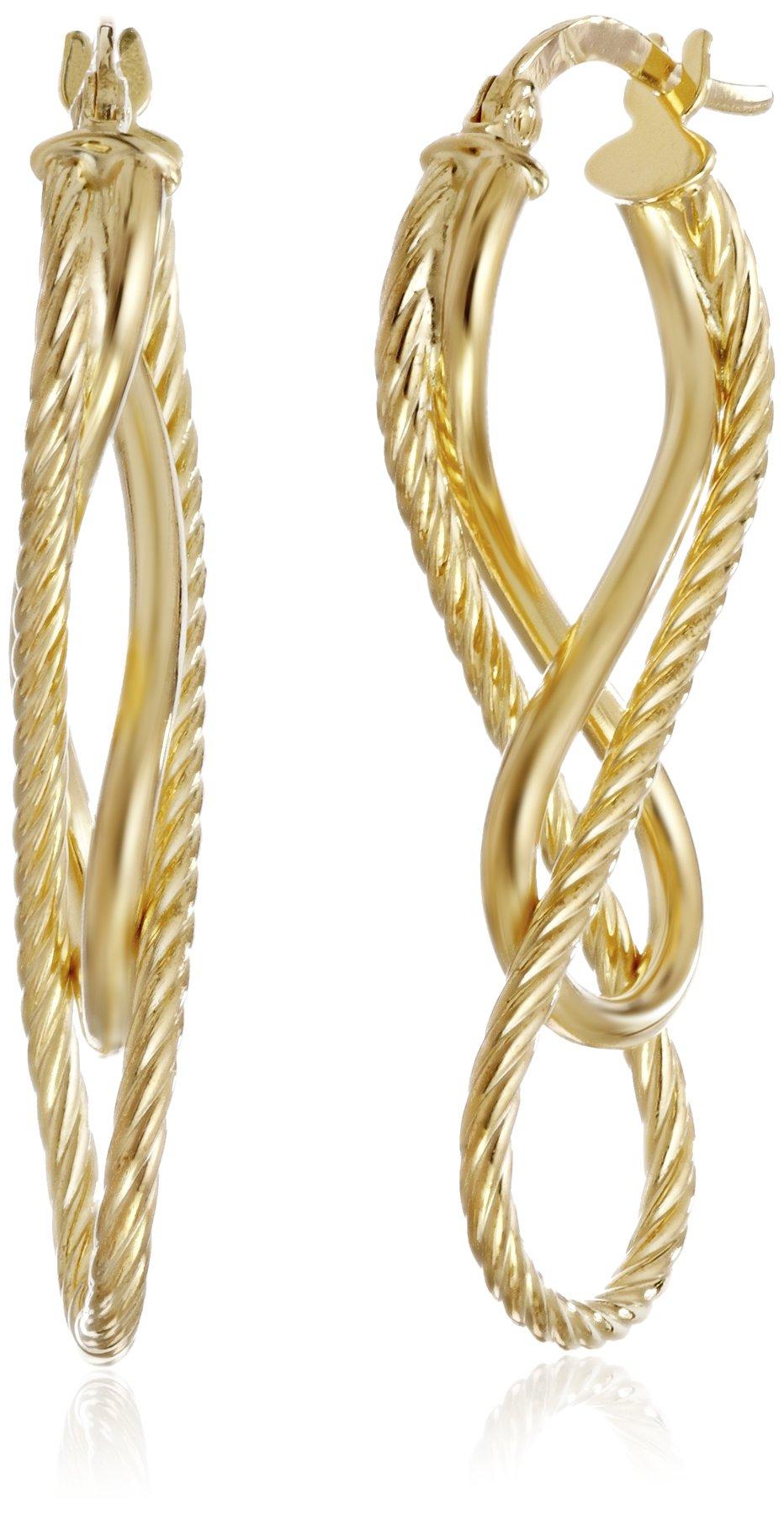 14k Yellow Gold Italian Diamond-Cut and High Polish Figure Eight Earrings