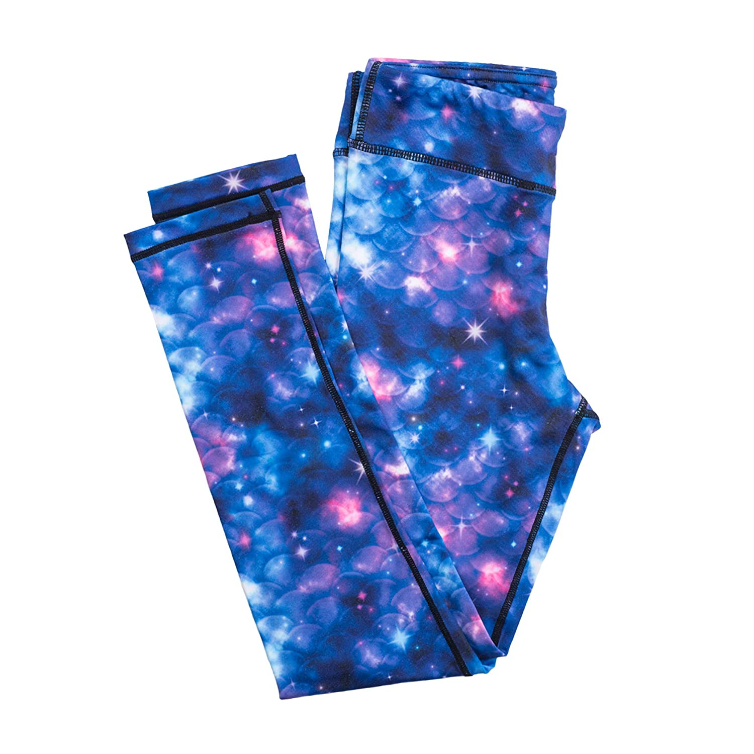 Fin Fun Girls and Kids Mermaid Athletic Leggings for Running and Swimming Small Lunar