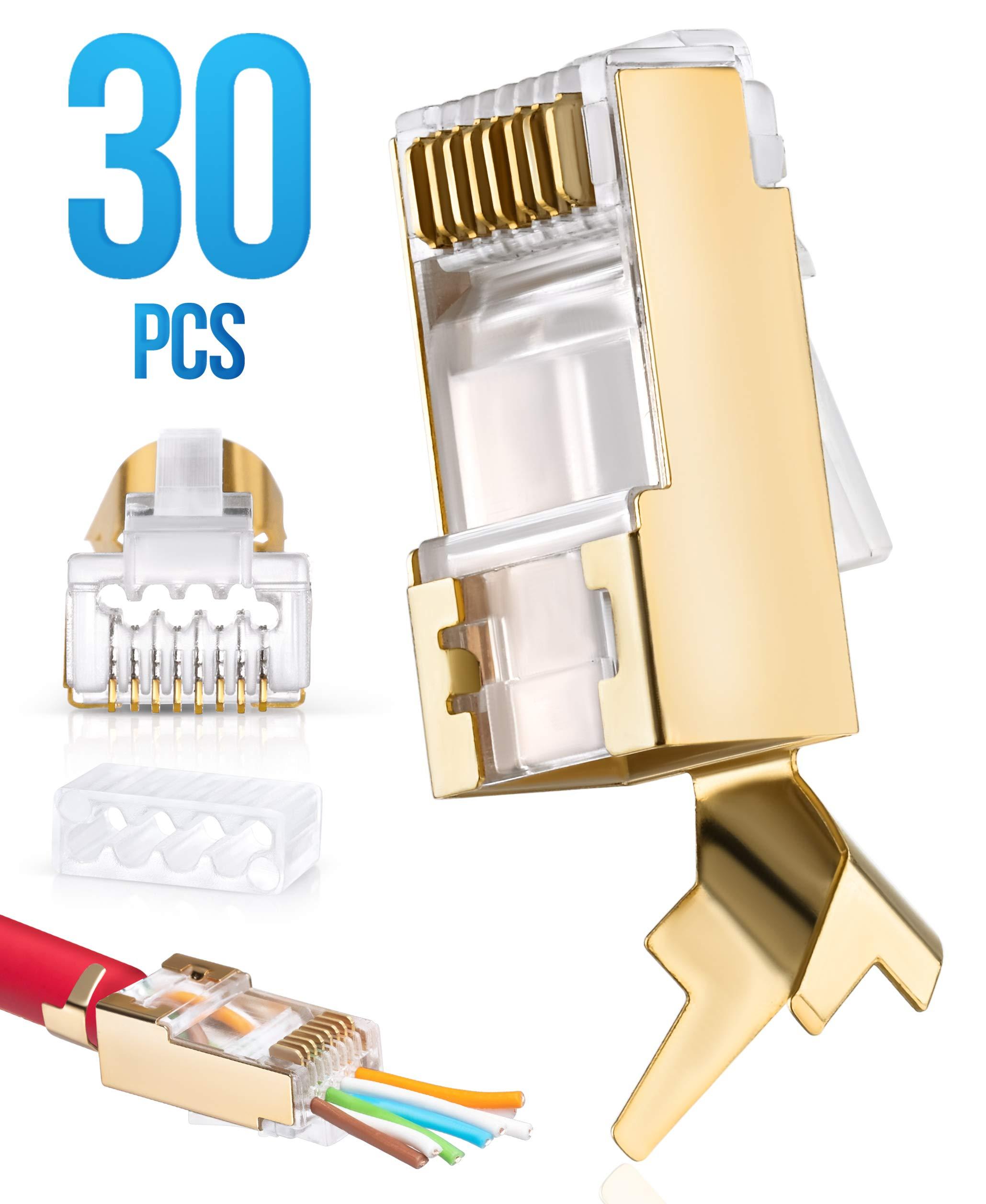 RJ45 Cat7 & Cat6/6A Pass Through connectors 30 Pcs | 8P8C 50UM Gold Plated Shielded Ftp/Sstp | EZ RJ45 Modular Plug for 24 - 23 AWG Ethernet Cable by EVEREST MEDIA SOLUTIONS