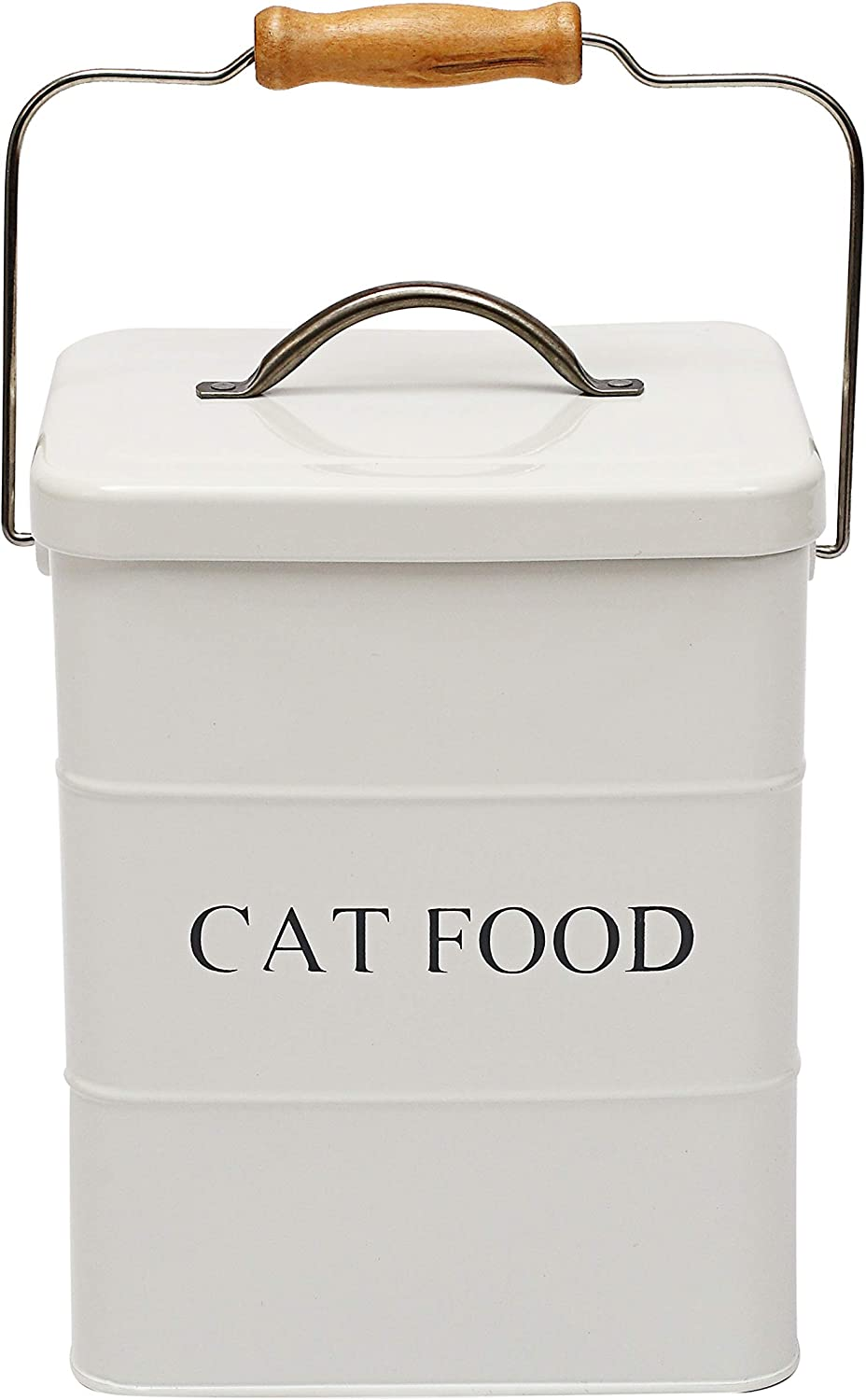 Morezi Cat Treat and Food Storage tin with lid and Scoop Included - White Powder - Carbon Steel - pet Food bin - Storage Canister tins - Cat Food - White