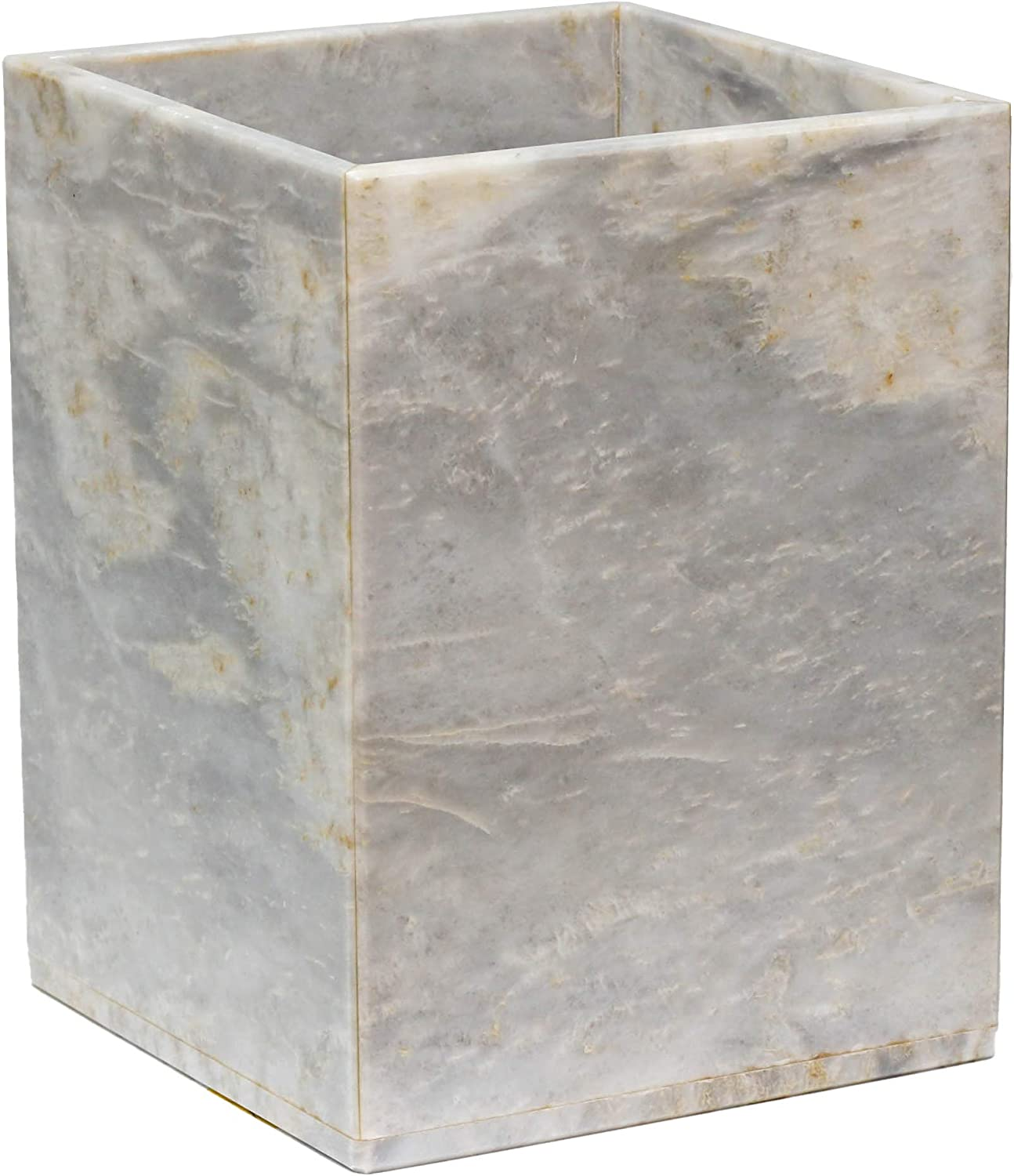 Amazon Com Polished Marble Wastebasket Cloud Gray Shower And Bathroom Accessory Home Kitchen