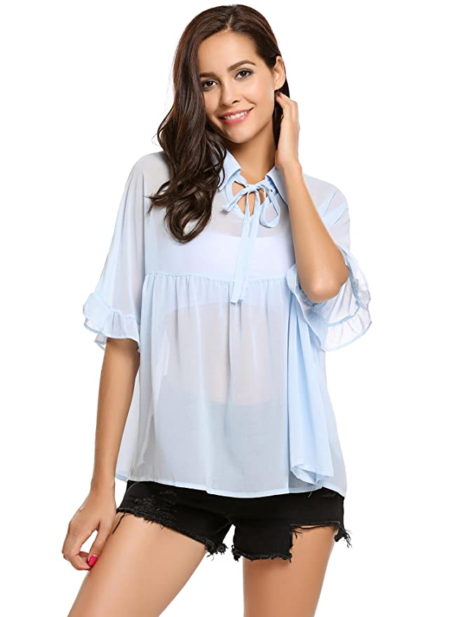 6e9e4a2f33bea6 Amazon.com  Zeagoo Women s Half Sleeve Collared Babydoll Tops Casual  Chiffon Blouses   Clothing