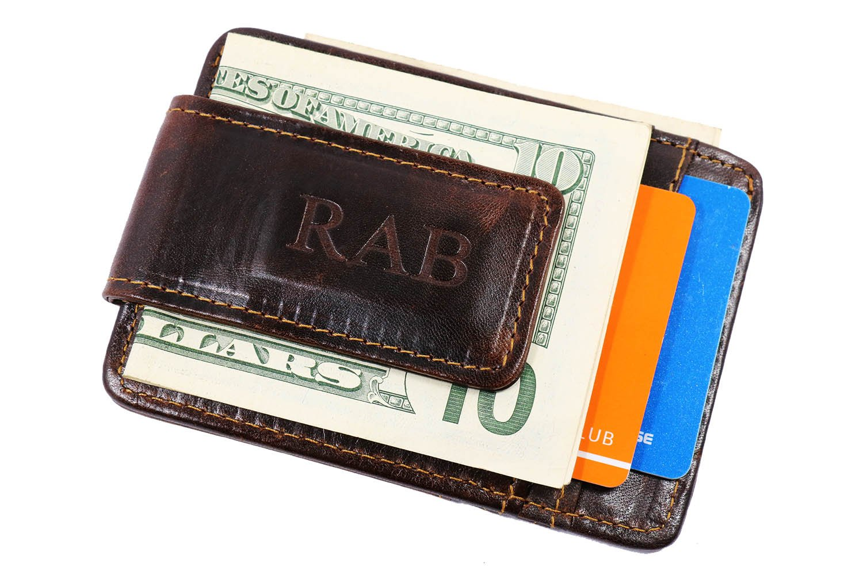 Personalized Men Leather Slim Wallet Credit Card Holder Cowhide Magnet Money Clip,Magnetic Money Clip Wallet