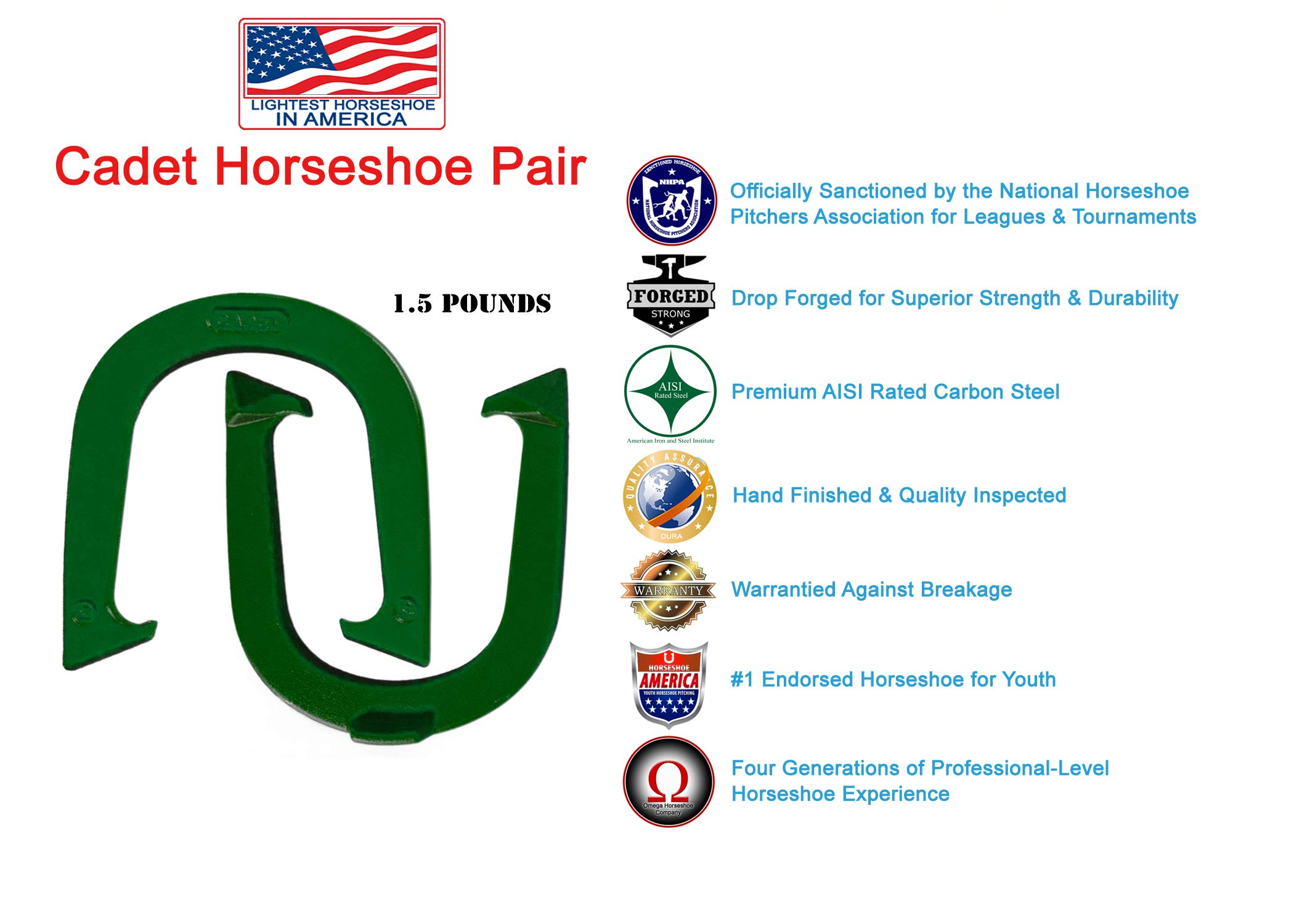Light Weight Cadet Pitching Horseshoes - Green Finish - NHPA Sanctioned for Tournament Play - Drop Forged Steel - One Pair (2 Shoes)