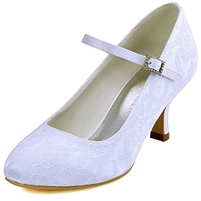 9970f6772994 Elegantpark EP1085 Women Round Toe Mid Heels Crystal Buckle Bride Mary Jane  Pumps Lace Wedding Court