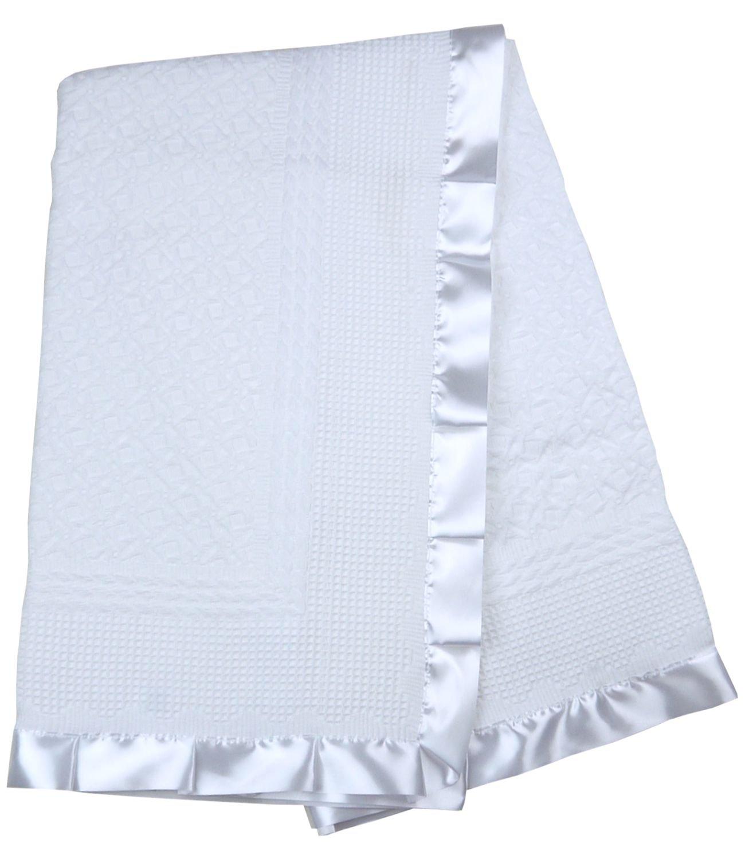 BabyPrem Baby Blanket Shawl Satin Edge Christening Baptism Knitted White 110 x 100cm PY022