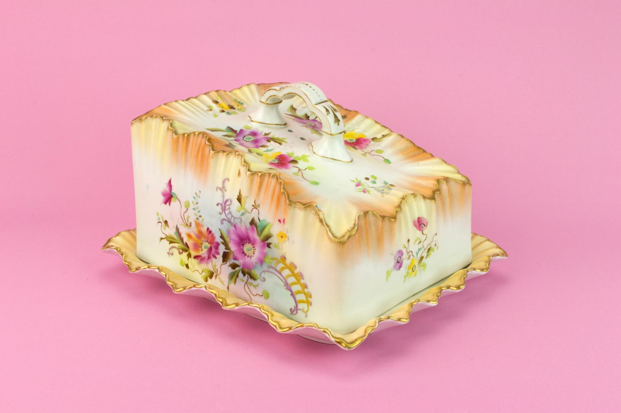 Carlton Ware Large Art Nouveau Butter Cheese Dish Rectangular Pink Airbrushed Wiltshaw & Robinson Antique Victorian English 1890s Ceramic