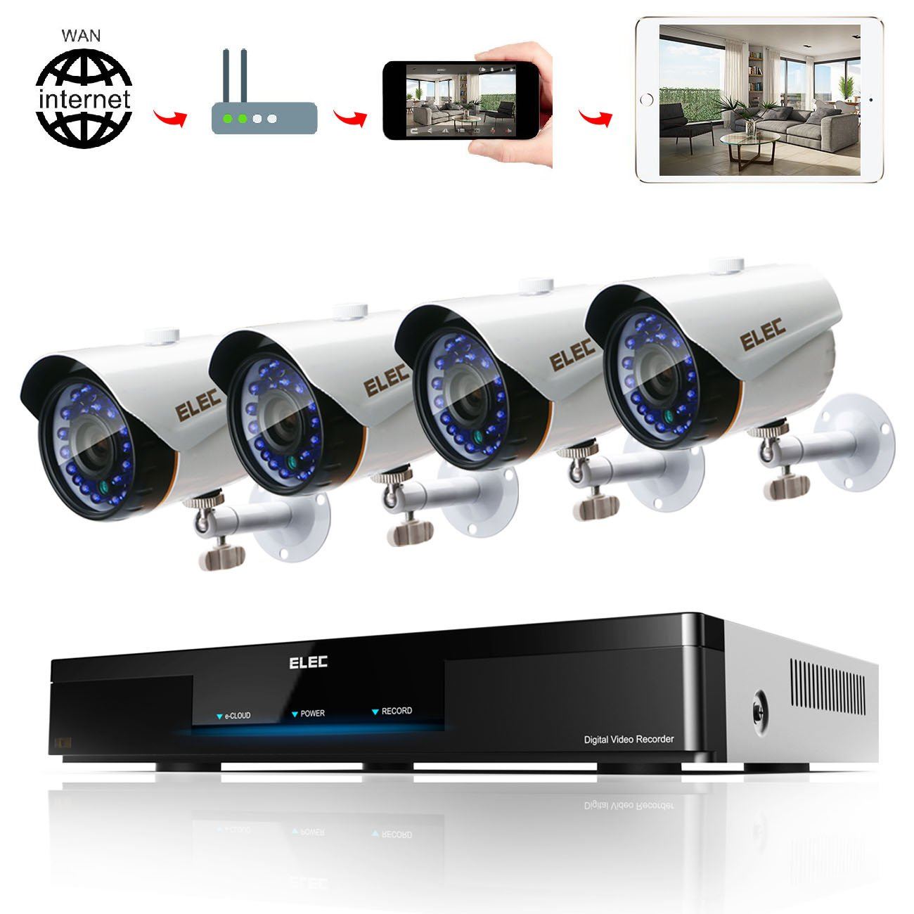 ELEC 8CH 1080N AHD In/Outdoor Home Security Camera System CCTV Monitoring Video Surveillance DVR Kit with 4Pcs 2000TVL IP66 65Feet Night Vision Cameras Remote Access Motion Alerts [No Hard Drive]