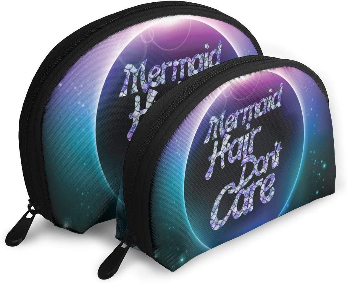 Gol Saly Funny Mermaid Hair Don't Care Pack of 2 Portable Travel Makeup Cosmetic Bags Organizer Multifunction Clutch Pouch Case Kit Toiletry Bags for Women