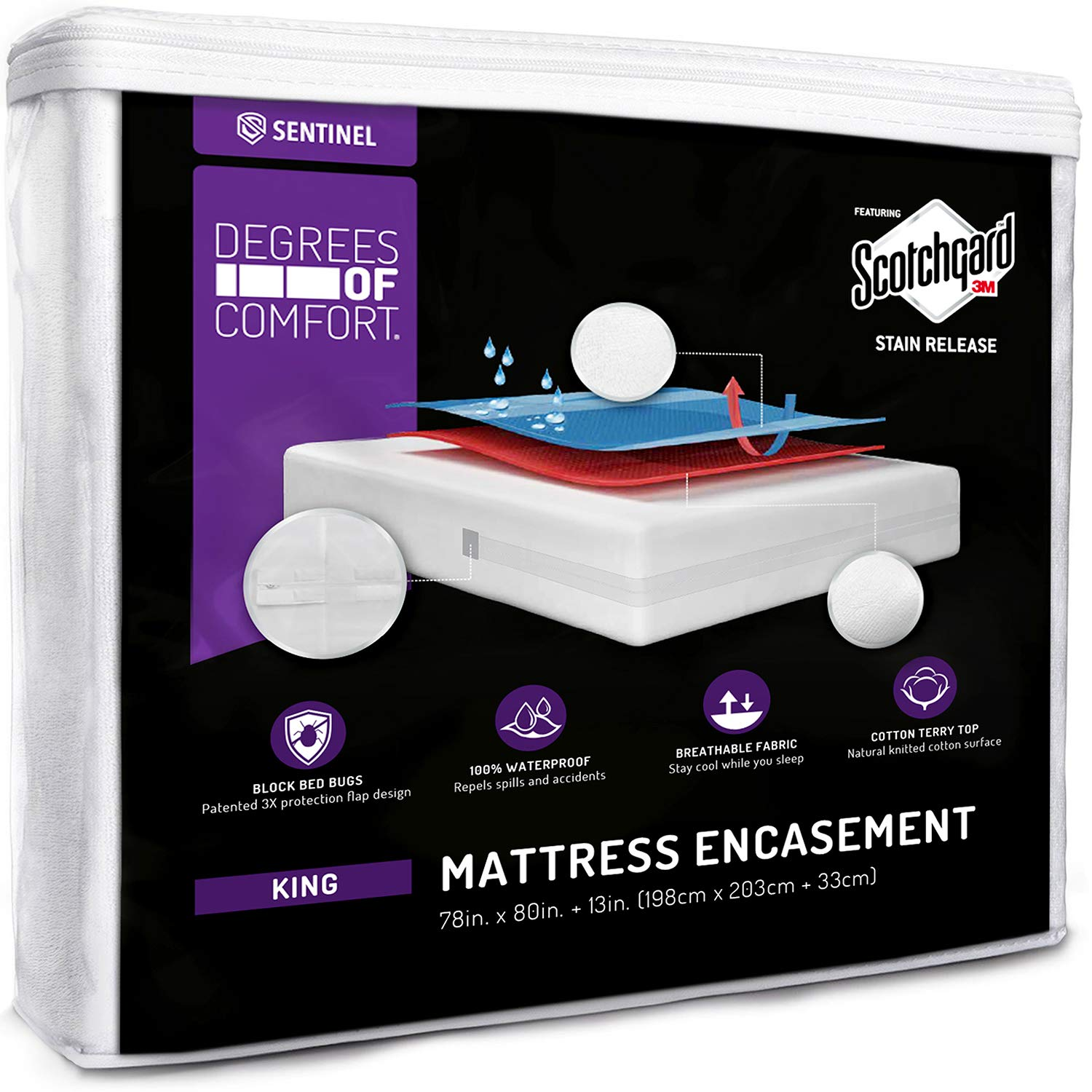 Degrees of Comfort Waterproof Zippered Mattress Encasement - Breathable Bed Bug Mattress Cover with Advance Patented Zipper Flap Design - 3M Scotchgard Stain Release Technology Fits 9-12'' King