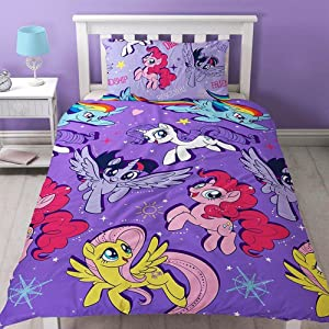 "My Little Pony Movie Repeat Print Design ""Adventure"" Duvet Cover Set, 2 Piece UK Single/US Twin Sheet Set, 1 x Double Sided Sheet and 1 x Pillowcase"