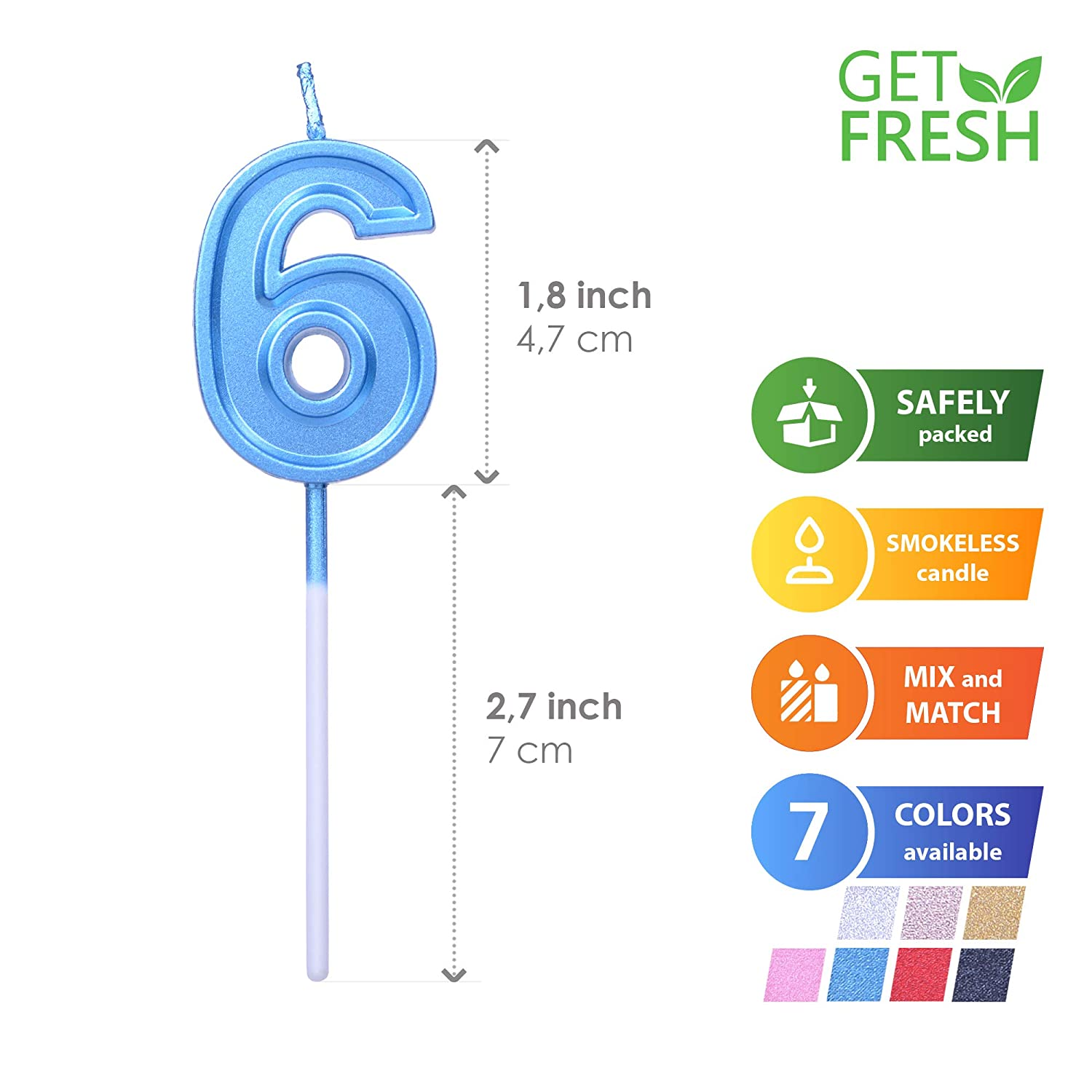 Elegant Blue Number Candles for Birthday Wedding Anniversary GET FRESH Number 0 Birthday Candle Perfect 0 Birthday Candle Cake Topper Blue Number Zero Candle on Stick Blue 0 Candle