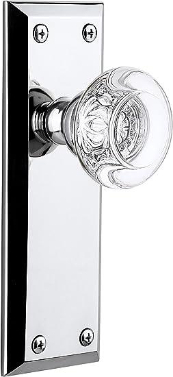 Satin Nickel 2.375 Grandeur Fifth Avenue Plate with Bordeaux Crystal Knob Privacy