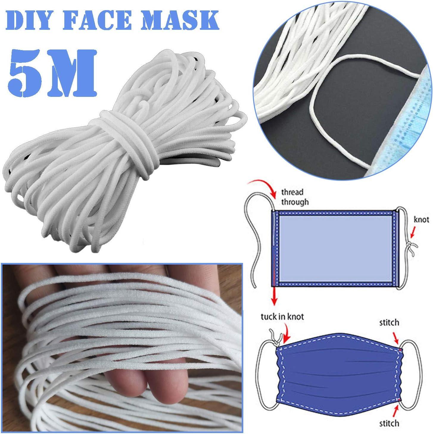 Elastic Cord Earloop For Sewing Earloop 3mm Width White Elastic
