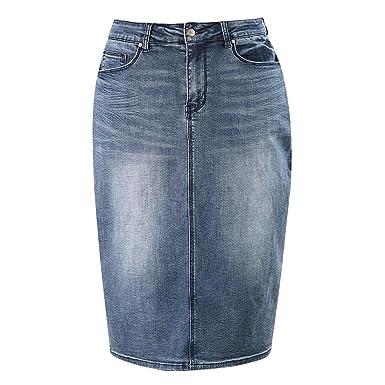 d02f6984e MSSHE Women's Plus Size High Waist Stretchy Pencil Denim Midi Skirt ...