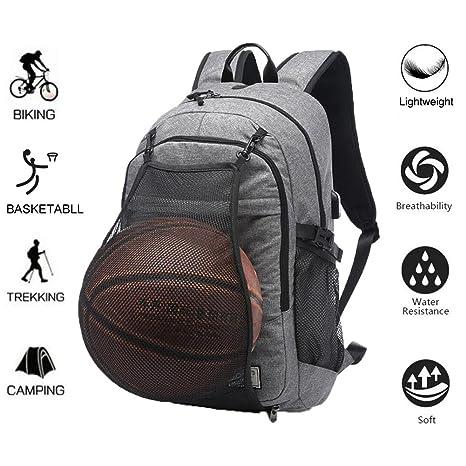 super populaire a1fa4 33c5d Sac à dos de sport Valleycomfy - Sac à dos en toile avec filet repliable  pour ballon de basket-ball et interface de charge USB - 40 cm