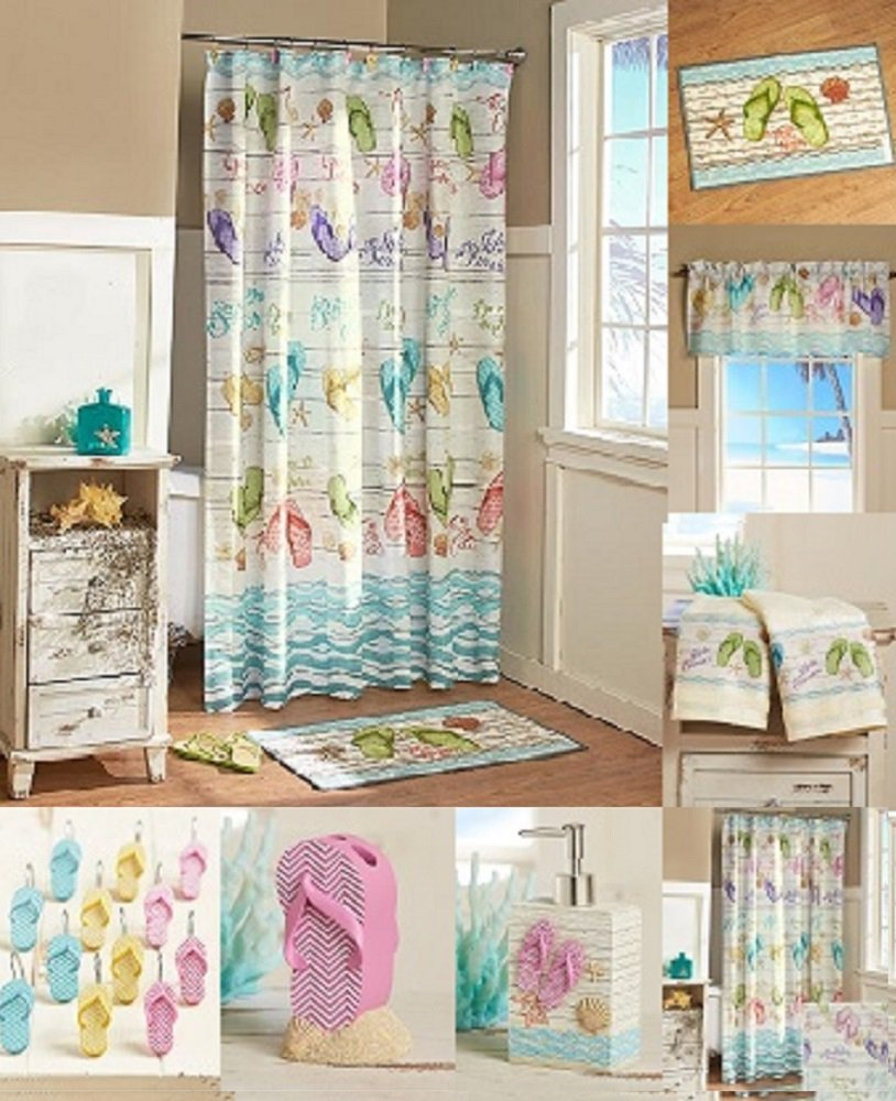 Flip-Flops Bathroom Ensemble Collection - Bundle with Shower Curtain, Hooks, Valance, Hand Towels, Rug, Soap Dispenser and Toothbrush Holder