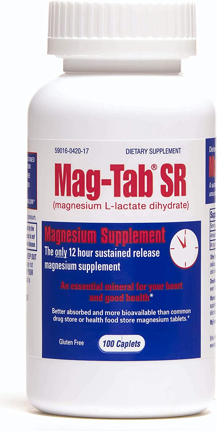 Mag-Tab®SR -100 Count Bottle- Magnesium Supplement With 41% Absorption Rate for Magnesium Deficiency. Sustained-Release Magnesium for Lactate Formulation for Optimal Magnesium Bioavailability.