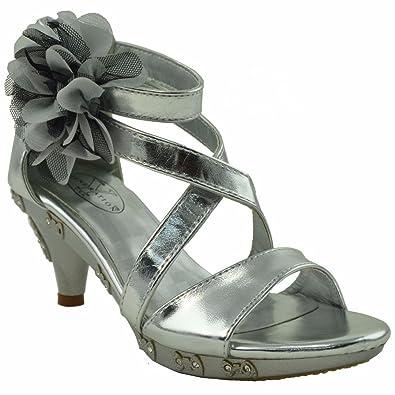 Amazon.com | Kids Dress Sandals Rhinestone Flower Embelli Back ...