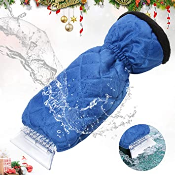 YIBEICO Car Snow Ice Scraper Waterproof Windshield Snow Scrapers with Warming Thick Fleece Blue Elastic Wristband Window Ice Scraper Mitten Windscreen Scraper with Glove
