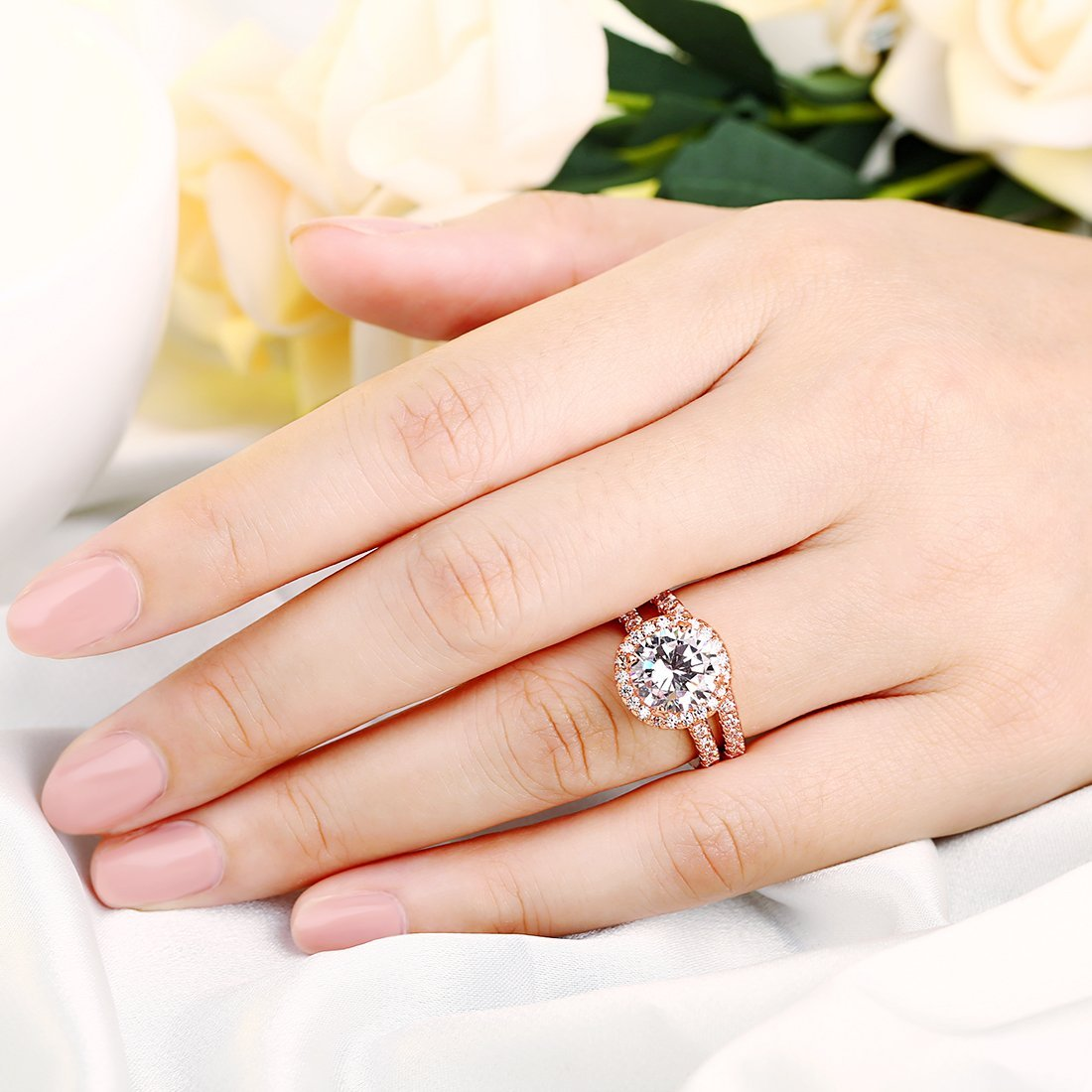 3 Carat Round CZ Solitaire 2 Pieces Ring Set for Women, Halo Style Rose Gold Plated Size 9 by Shengtai (Image #2)