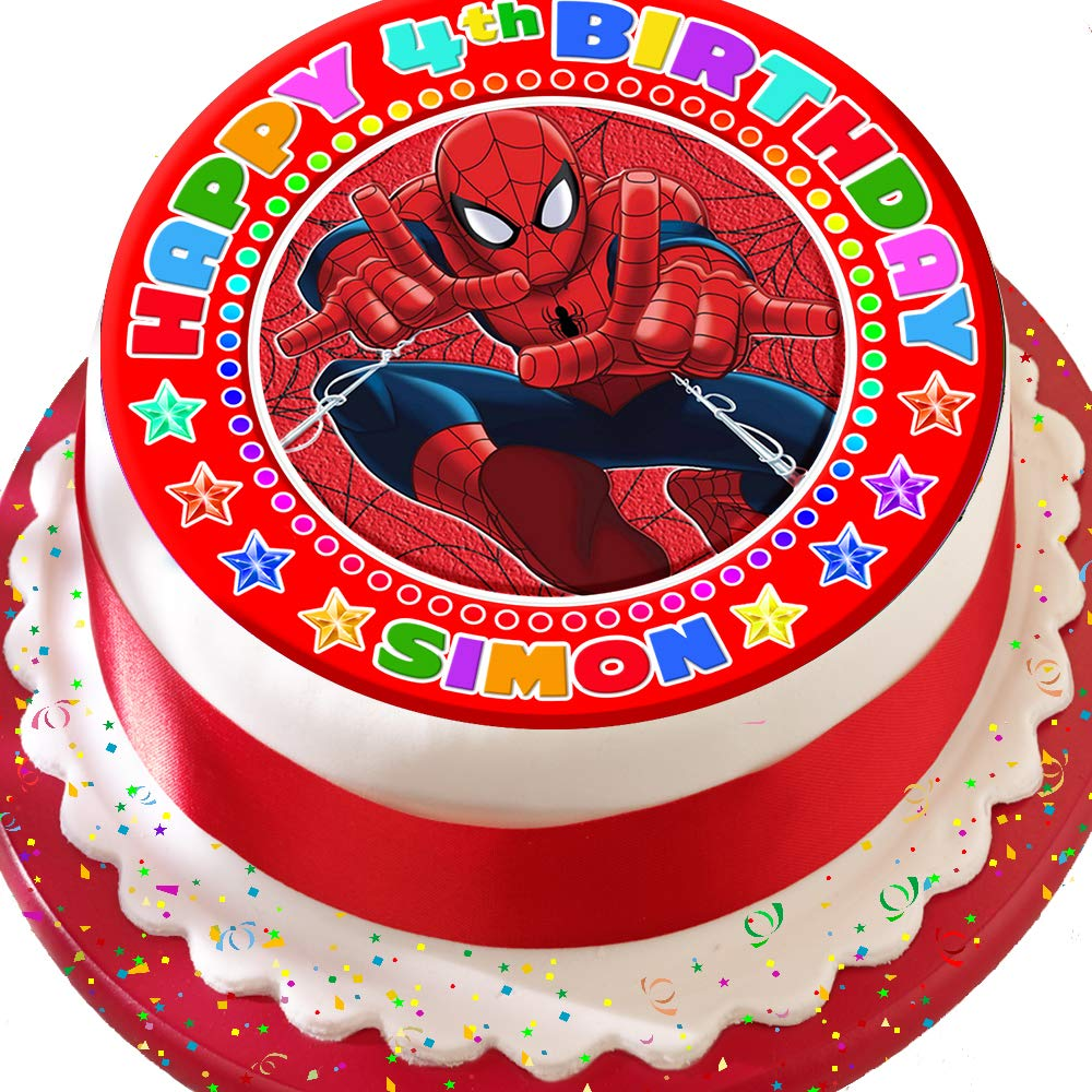 12 cupcake toppers Spiderman round icing sheet personalised topper