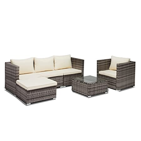 Uenjoy 6PC Outdoor Patio Furniture Set Rattan Wicker Cushioned Sofa Table Garden Lawn Swimming Pool Side Grey