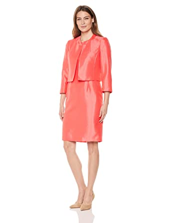 Amazon Com Le Suit Women S Shiny Fly Away Jacket With Sheath Dress